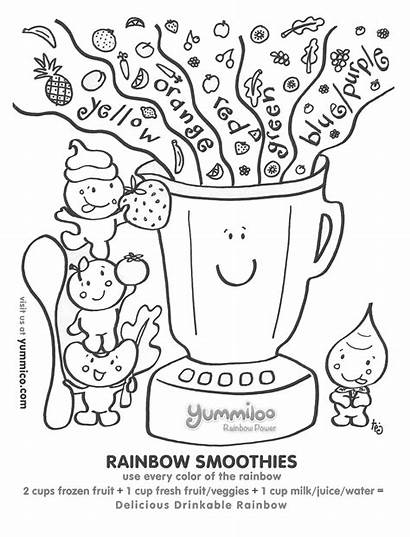 Rainbow Pages Smoothies Coloring Healthy Eating Worksheet