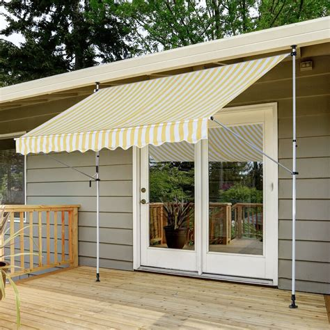outsunny manual sun shade outdoor  ft    ft  fabric retractable soffit patio awning