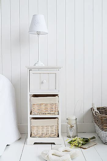 cape  small bedside table   drawers  white