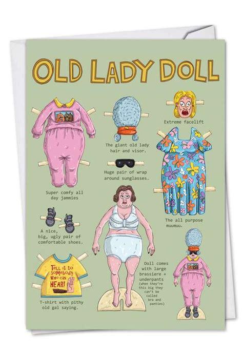 lady doll cartoons birthday greeting card mike shiell