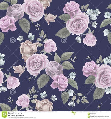 seamless floral pattern  pink roses  dark background