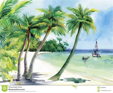 Boat On Beach Drawing by Summer Beach With Palm Trees Seagulls And Boat On Shore