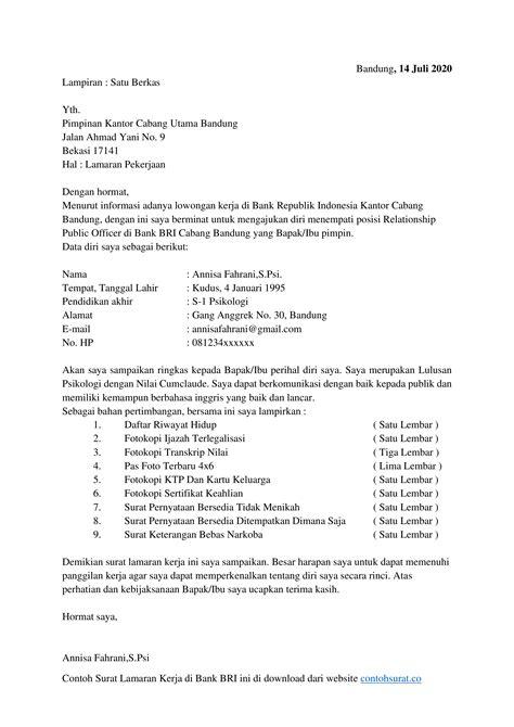 Download Contoh Surat Lamaran Kerja di Bank BRI docx - Contoh Surat