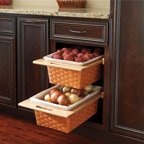 pull out baskets kitchen cabinets rev a shelf woven basket with rails in standard size 7596