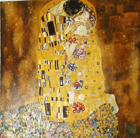 the a copy of painting original gustav klimt 1907 8 on canvas 180 x 180 cm is in