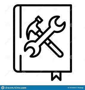 User Guide Book Icon  Outline Style Stock Vector