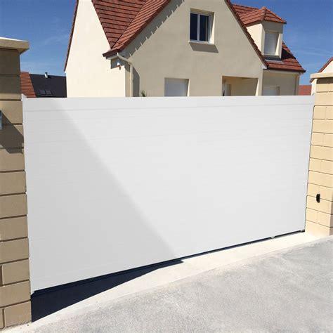 portail coulissant aluminium concarneau blanc naterial l 400 cm x h 153 cm leroy merlin