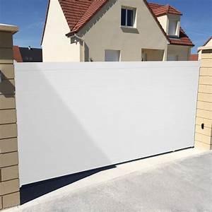 Leroy Merlin Portail : portail coulissant aluminium concarneau blanc naterial l ~ Nature-et-papiers.com Idées de Décoration
