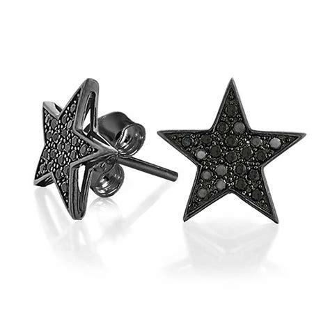 patriotic black star cz stud earrings micro pave silver