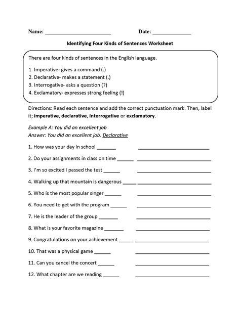 practicing four kinds of sentences worksheet language