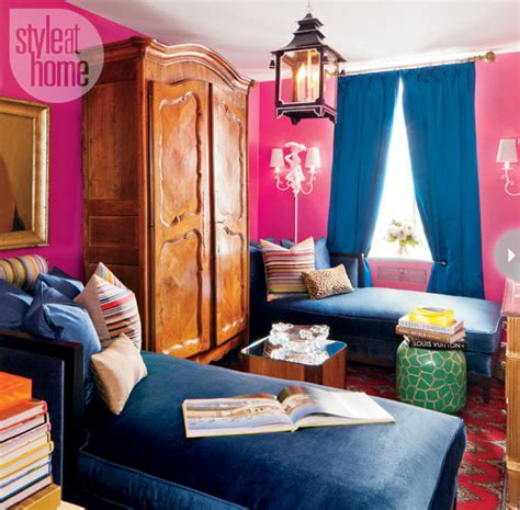 Pink and Blue Eclectic Living Room