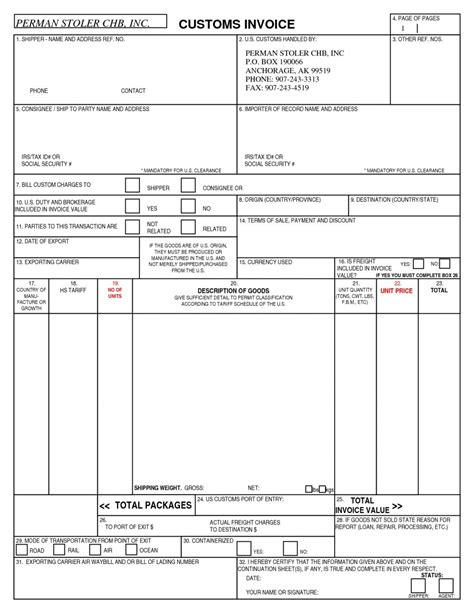 customs invoice template   ways   customs