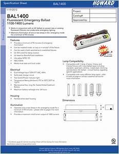 Bal1400 Fluorescent Emergency Ballast 1100