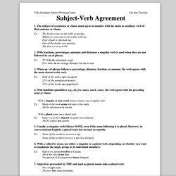 verb tense agreement worksheets  grade subject verb