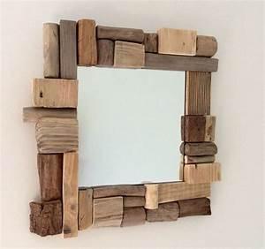 idee decoration salle de bain miroir en bois flotte par With miroir salle de bain encadrement bois
