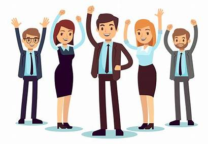 Office Happy Vector Business Character Employees Woman