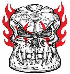 Skull Sketch Design On White Background With Flame