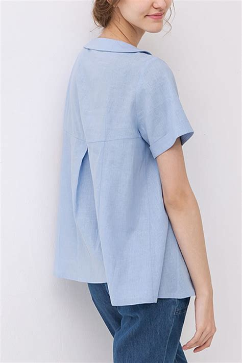 womens linen shirts blouses custom pan collar sleeve pleated blouses