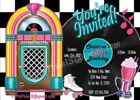 rock  roll retro  party package  invitation