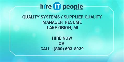 quality systems supplier quality manager resume lake