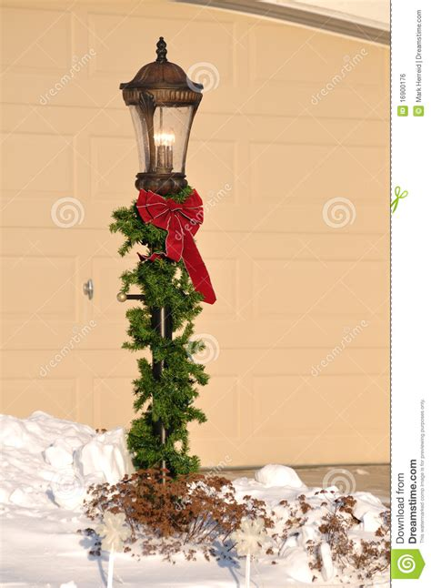 lamppost decorated  christmas stock photo image