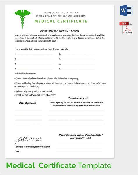 sample medical certificate  documents  word