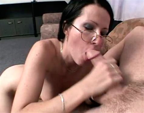 Hot Nerdy Brunette In Glasses Gives Great Blowjob