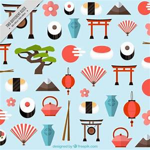 Background of japanese elements in flat style Vector ...