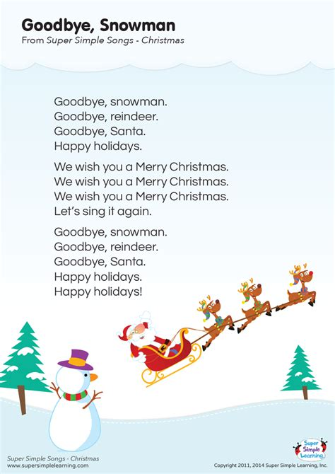 Goodbye, Snowman Lyrics Poster  Super Simple