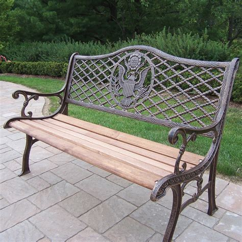 Iron Park Benches by Oakland Living American Eagle Wood And Cast Iron Park