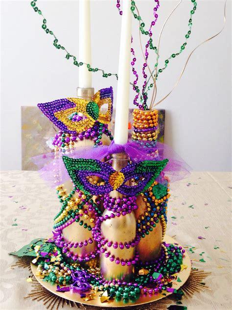 mardi gras centerpiece glued beads  gold spray