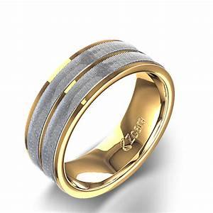 Double channel men39s wedding ring in 14k two tone gold for Men gold wedding ring