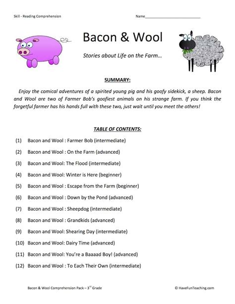 bacon  wool reading comprehension test collection