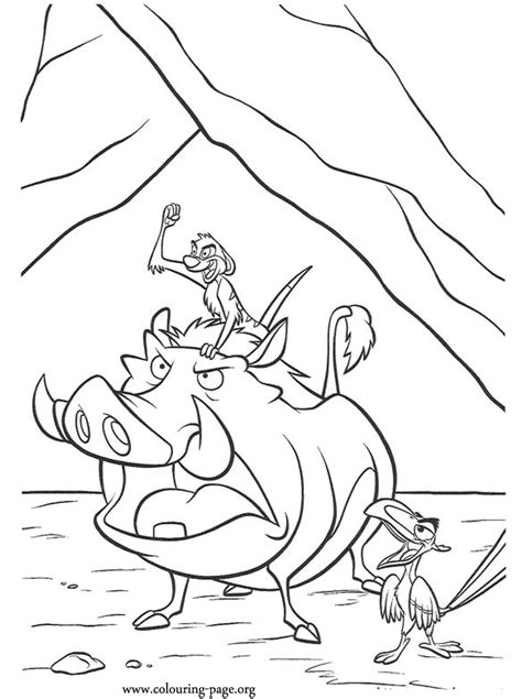 lion king timon pumbaa  zazu coloring page