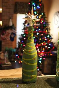 Lighted Wine Bottle Stoppers Christmas Tree Painted Wine Bottle With A Star Shaped
