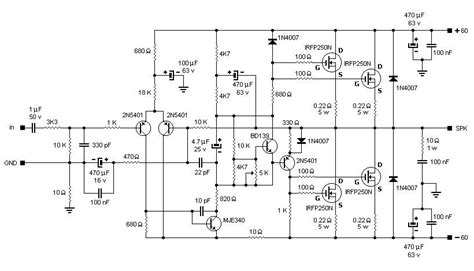 mosfet amplifier based irfpn circuit schematic
