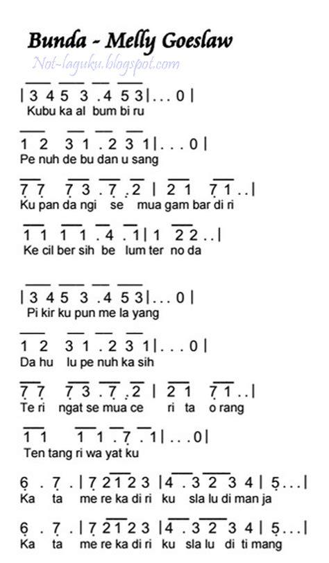 not angka lagu bunda keyboard not angka lagu bunda melly goeslaw pianika recorder keyboard suling