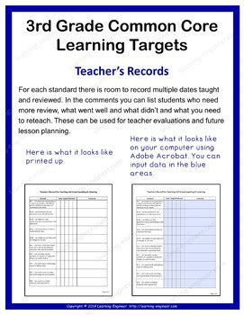 grade checklists learning target posters  grade