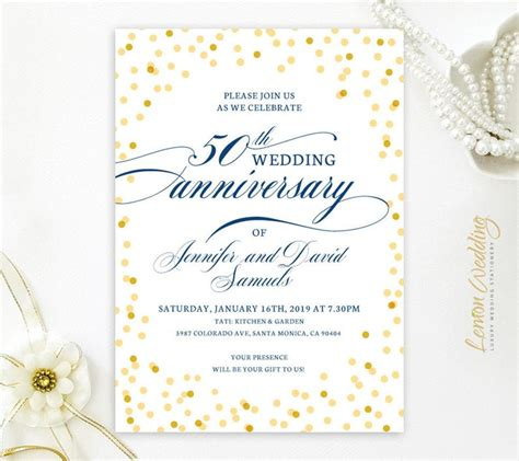 50th wedding anniversary invitations Golden wedding Etsy