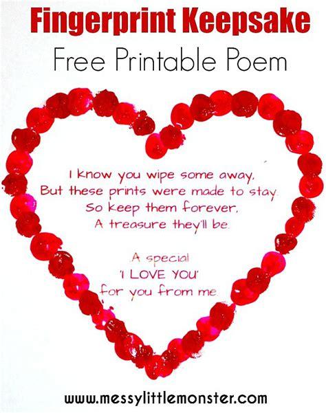 Fingerprint Heart Poem - Messy Little Monster