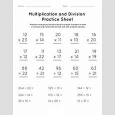Multiplication And Division Practice Sheet #2 Worksheet