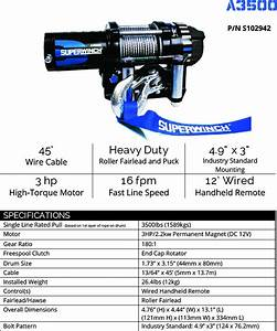Atv Offroad Winch Superwinch A3500 Series Heavy Duty