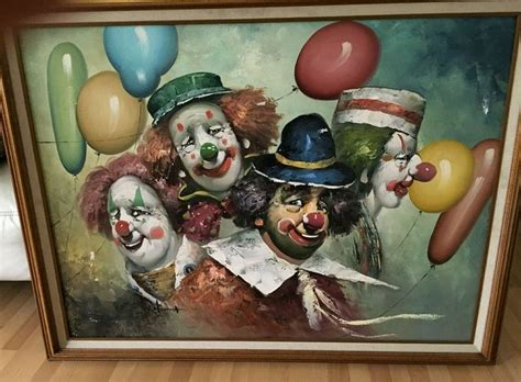 W. Moninet 4 Clowns Painting