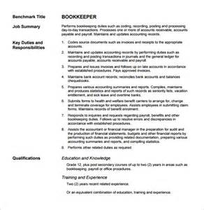 Bookkeeper Duties And Responsibilities Resume by 28 Bookkeeper Duties And Responsibilities Resume