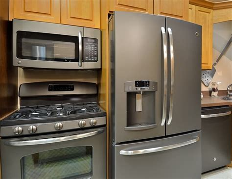 slate kitchen appliances slate finish is an alternative to stainless steel