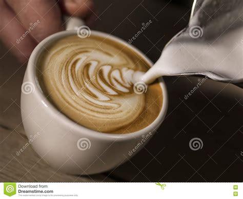 Hand Barista Making Cappuccino Coffee Pouring Milk