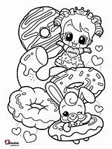 Coloring Pages Donuts Printable Cartoon Donut Teenage Bubakids sketch template