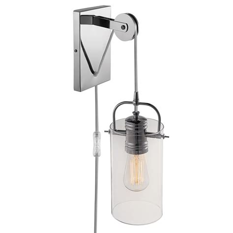 globe electric nordhaven 1 light chrome plug in or
