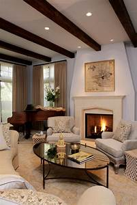 Traditional, Living, Room, With, Dark, Wood, Ceiling, Beams