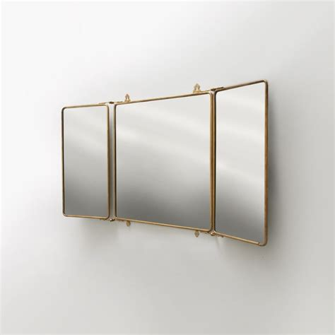 Bathroom Wall Mounted Mirrors by Metal Rectangular Wall Mounted Trifold Mirror